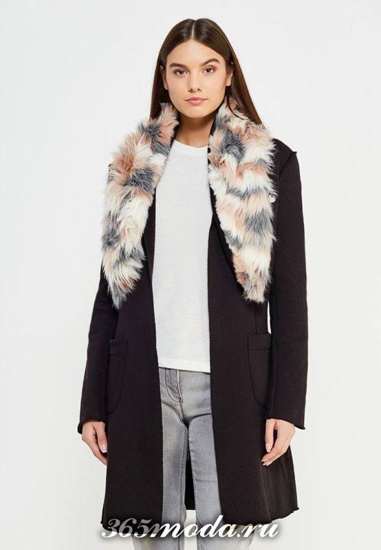 черное пальто с меховым воротником осень-зима