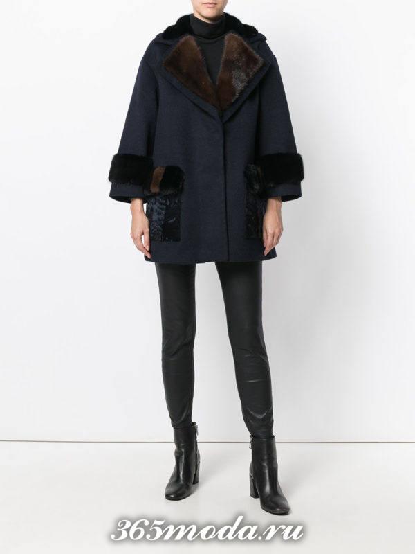 темное пальто с мехом осень-зима