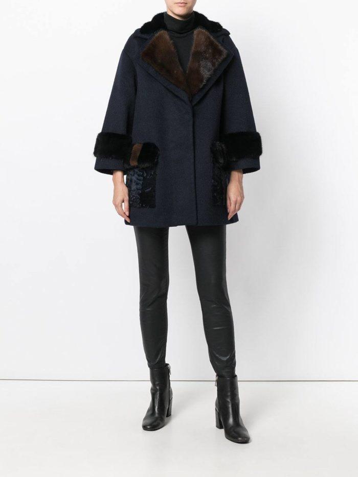 модные пальто осень зима: темное с мехом