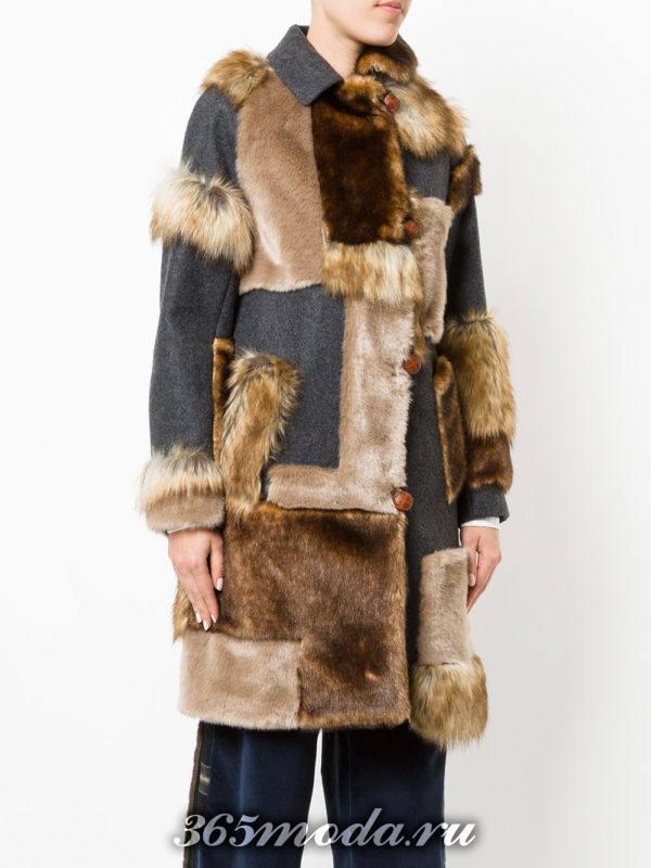 модные пальто осень зима: с меховой отделкой