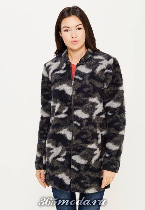 пальто милитари на молнии с принтом осень-зима