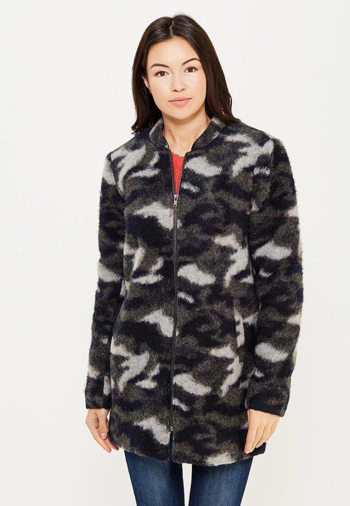 пальто осень зима: милитари на молнии с принтом