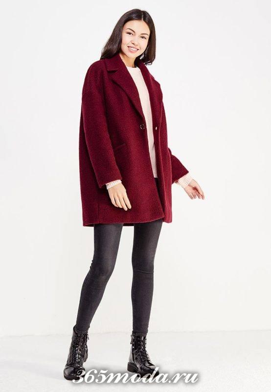 бордовое короткое пальто оверсайз осень-зима