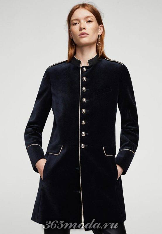 бархатное пальто милитари с пуговицами осень-зима