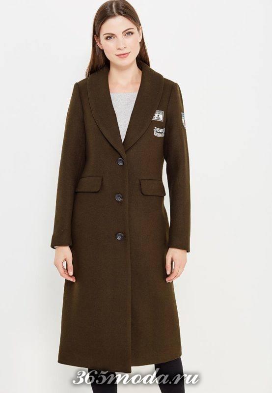 длинное пальто милитари с декором осень-зима