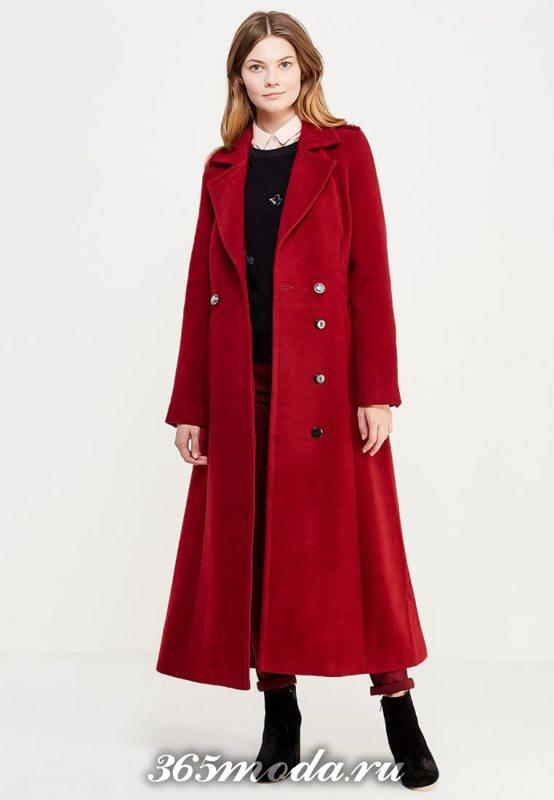 длинное красное пальто милитари осень-зима