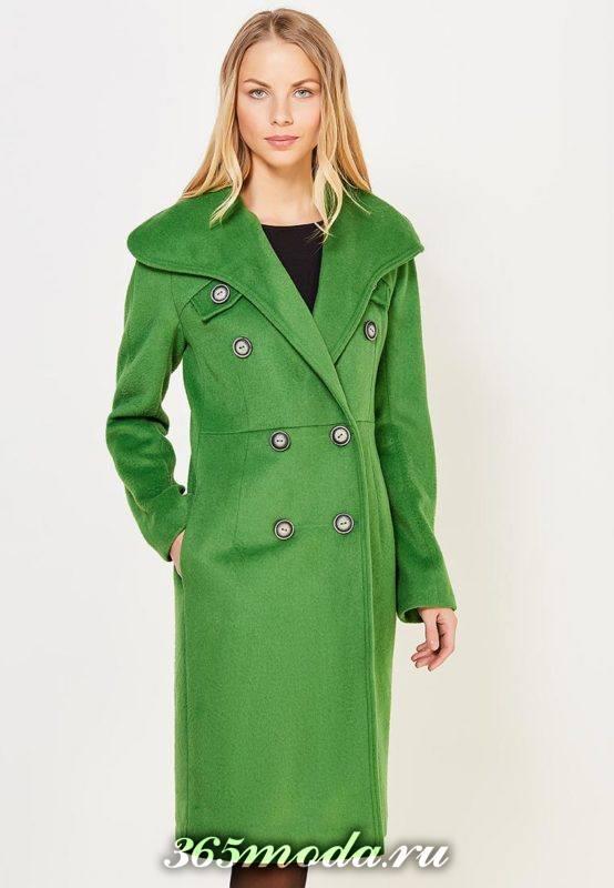 зеленое макси пальто на пуговицах осень-зима