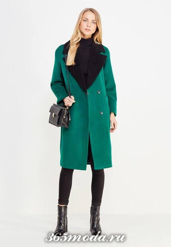 зеленое двубортное макси пальто осень-зима