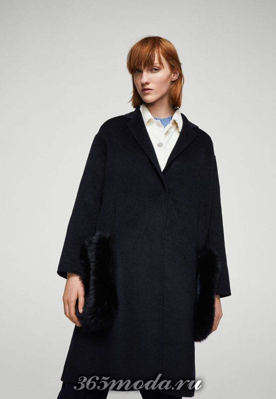 синее пальто оверсайз с декором осень-зима