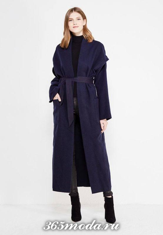 синее макси пальто с поясом осень-зима
