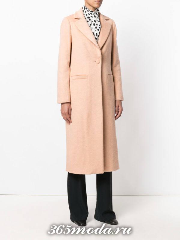 розовое классическое макси пальто осень-зима