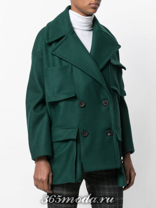 укороченное асимметричное пальто осень-зима