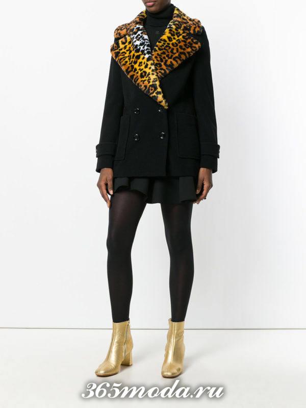укороченное пальто с ярким воротником осень-зима