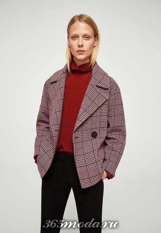укороченное пальто в клетку осень-зима