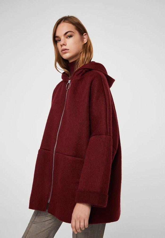 модные пальто осень зима: оверсайз на молнии с капюшоном