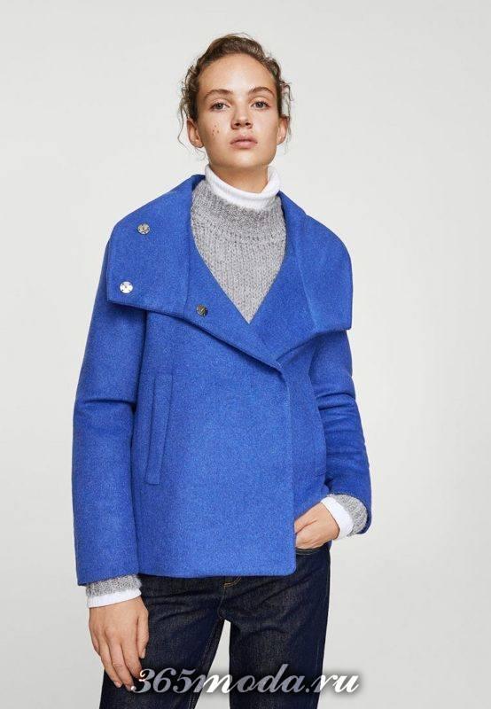 укороченное яркое пальто осень-зима