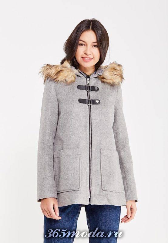 укороченное пальто с капюшоном осень-зима