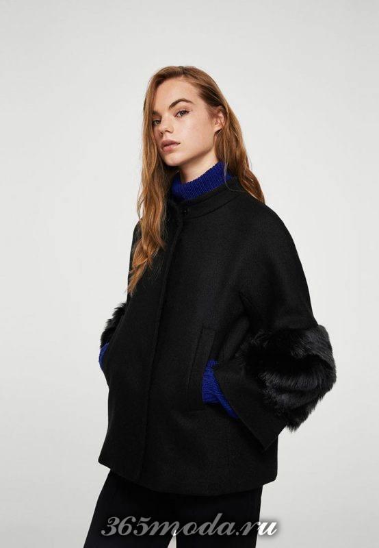черное короткое пальто с укороченными рукавами с мехом