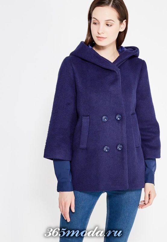 пальто с капюшоном с укороченными рукавами