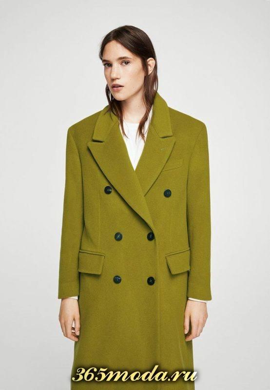 зеленое пальто оверсайз на пуговицах осень-зима