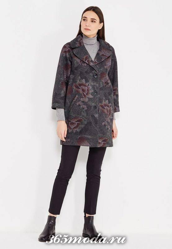 пальто с принтом с укороченными рукавами