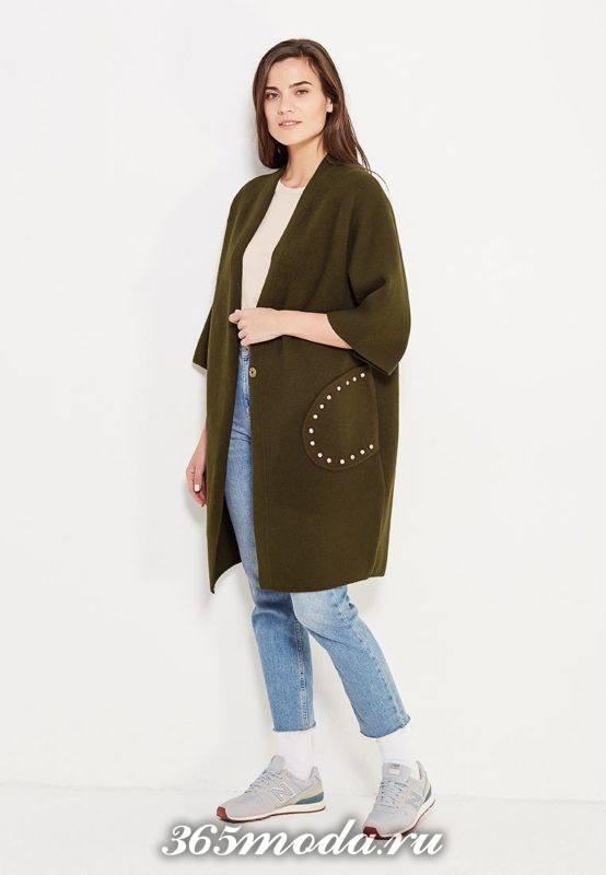 оливковое пальто без воротника с укороченными рукавами
