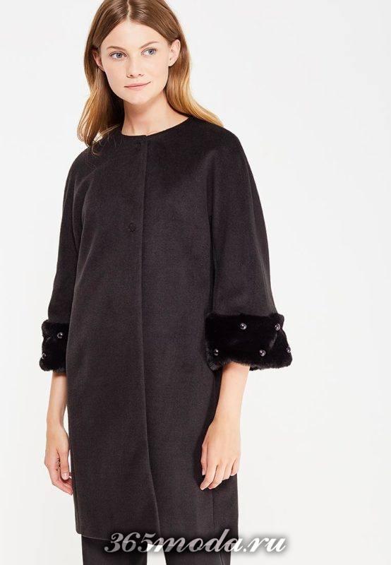 черное пальто с укороченными рукавами с декором