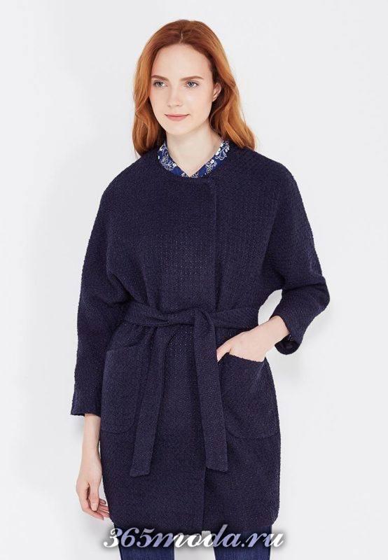пальто с поясом с укороченными рукавами