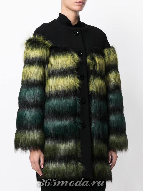 пальто осень-зима с разноцветным мехом