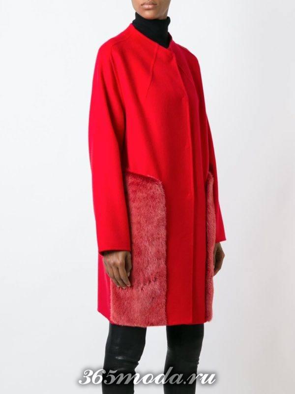 модные пальто осень зима: красное миди с вставками