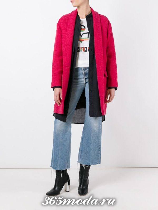 розовое пальто осень-зима