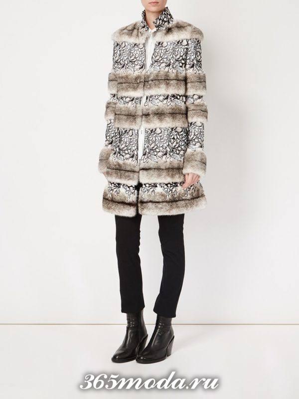 пальто с кружевом и мехом осень-зима