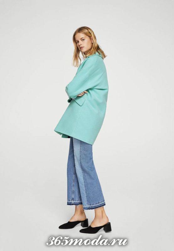 модные пальто осень зима: голубое оверсайз