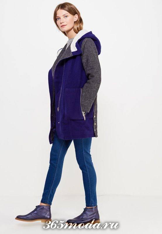 комбинированное пальто с капюшоном осень-зима