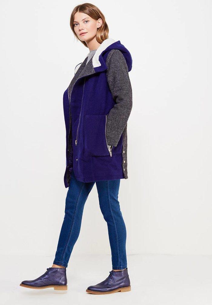 модные пальто осень зима: комбинированное с капюшоном