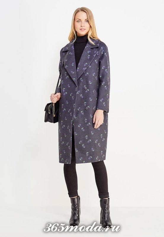 длинное пальто с принтом осень-зима