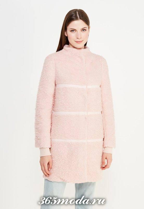 светлое меховое пальто осень-зима