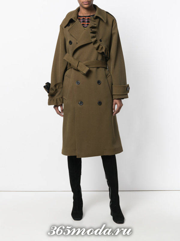 пальто с поясом на пуговицах осень-зима