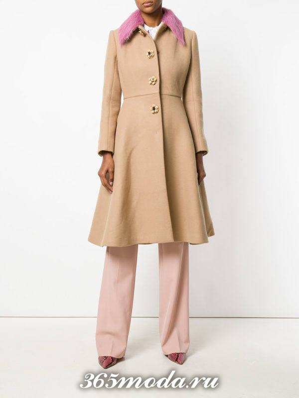 пальто клеш с меховым воротником осень-зима