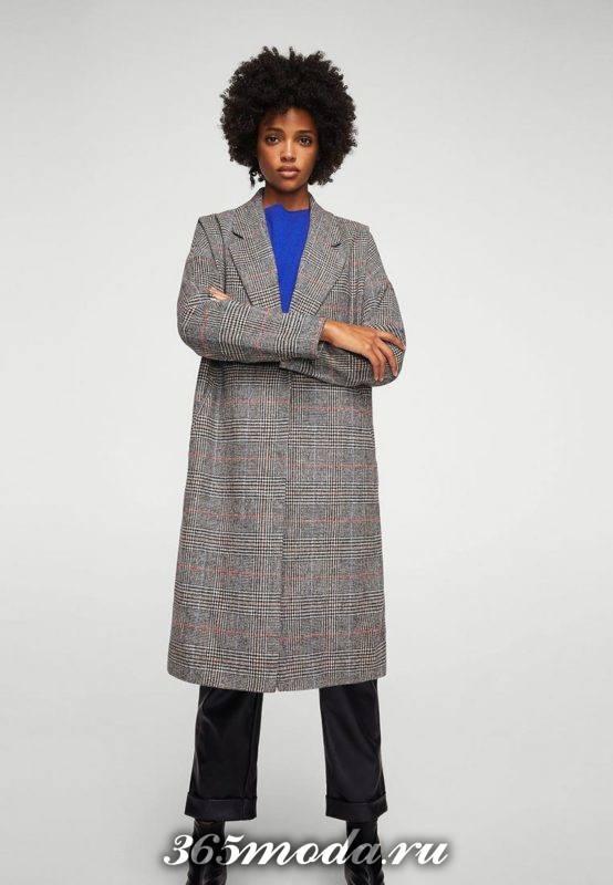 серое длинное пальто оверсайз осень-зима