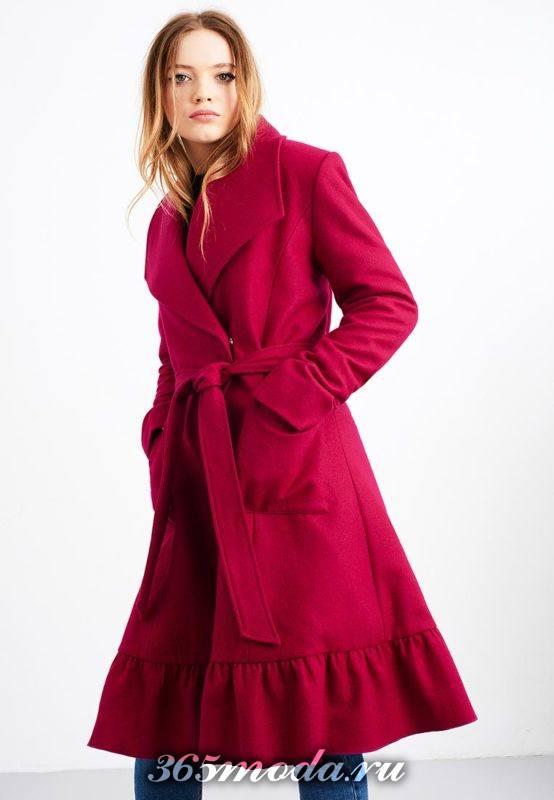 розовое пальто клеш с поясом осень-зима