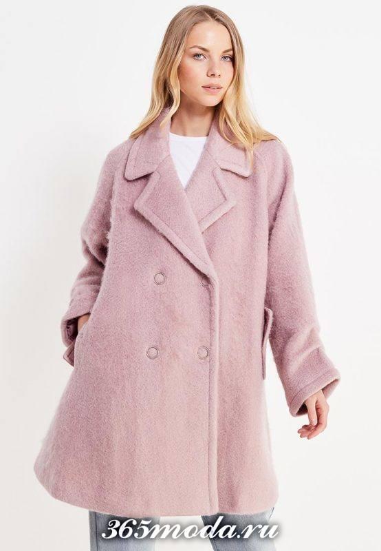 сиреневое свободное пальто осень-зима