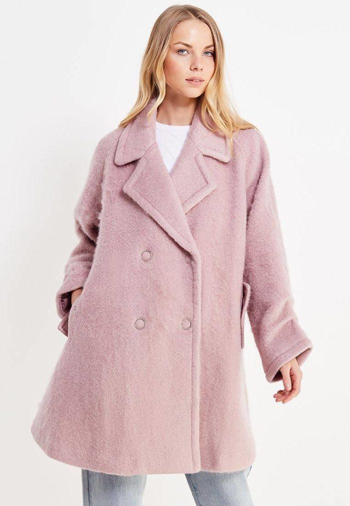модные пальто осень зима 2019-2020: сиреневое свободное