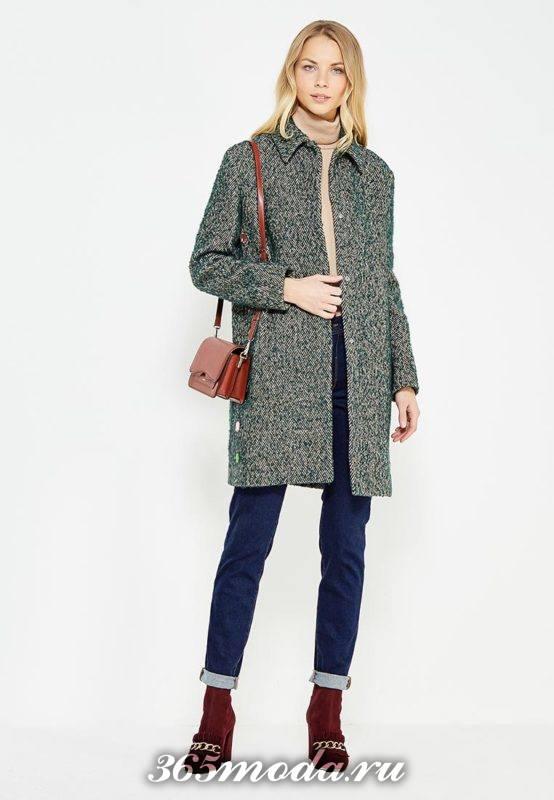 серое пальто осень-зима