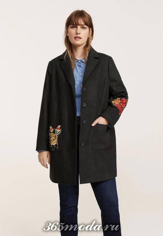 черное пальто с вышивкой осень-зима
