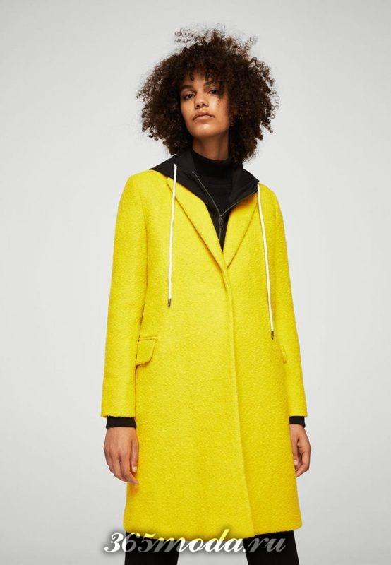 модные пальто осень зима 2018-2019: желтое