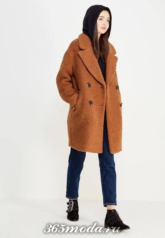 коричневое двубортное пальто оверсайз осень-зима