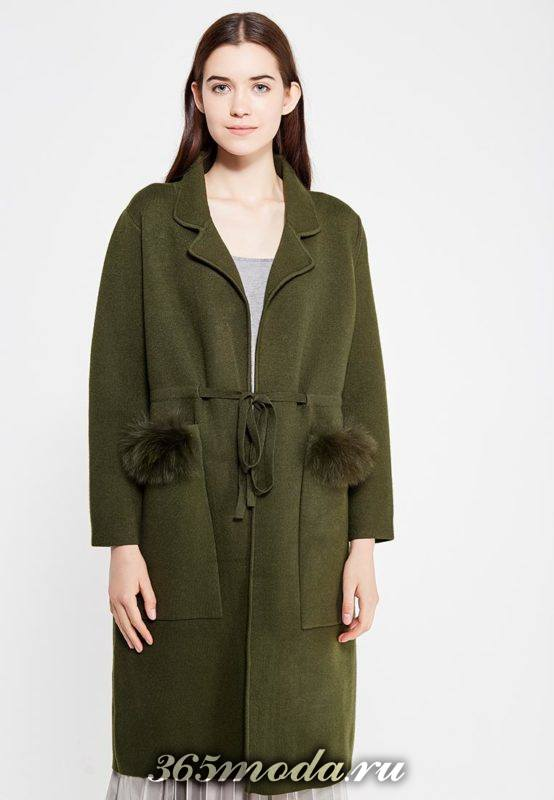 оливковое пальто оверсайз с поясом осень-зима