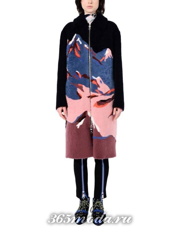 сет с прямым пальто с изображением