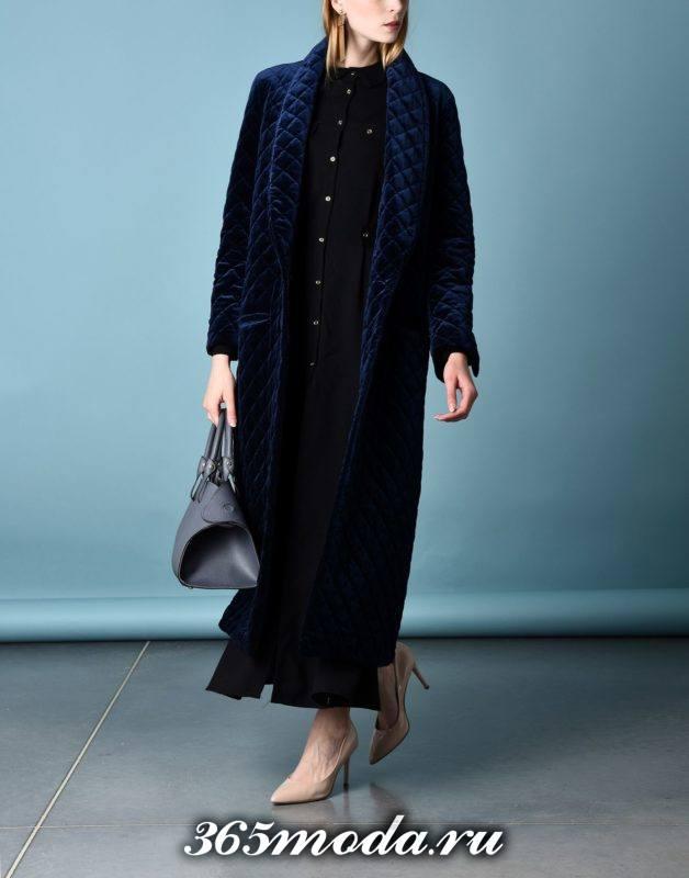сет с синим длинным пальто